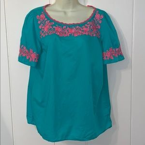 Talbots turquoise & pink embroidered boho blouse